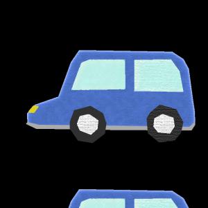車(青)のコラージュ風イラスト