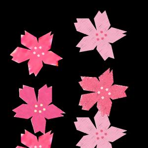 桜の花のコラージュ風イラスト