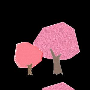 桜の木のコラージュ風イラスト