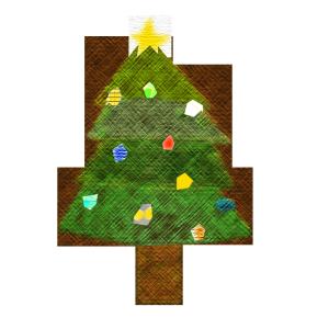 クリスマスツリーのコラージュ風イラスト