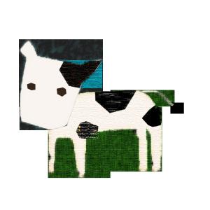 牛のコラージュ風イラスト