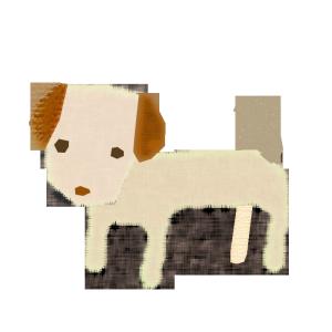 犬のコラージュ風イラスト