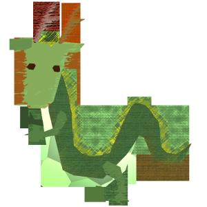 竜のコラージュ風イラスト