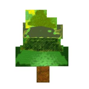 もみの木のコラージュ風イラスト