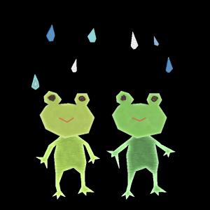 カエルと雨のコラージュ風イラスト