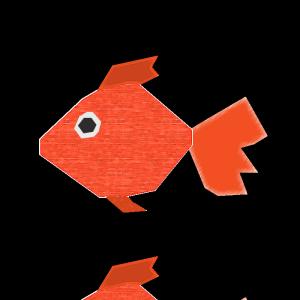 金魚のコラージュ風イラスト