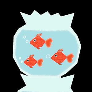 金魚鉢のコラージュ風イラスト