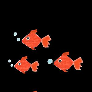 金魚の群れのコラージュ風イラスト