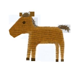 馬のコラージュ風イラスト
