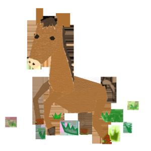 馬のコラージュ風イラスト02