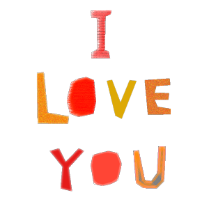 I LOVE YOUのコラージュ風文字イラスト
