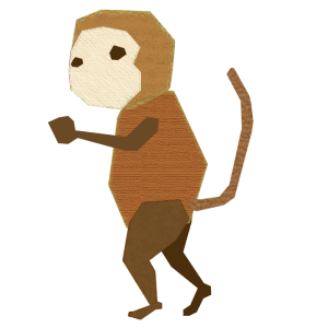 猿のコラージュ風イラスト
