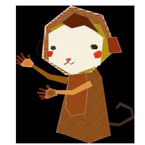 猿のコラージュ風イラスト02