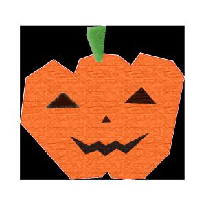 おばけかぼちゃのコラージュ風イラスト