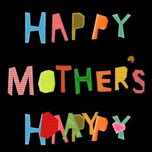 HAPPY MOTHER'S DAYのコラージュ風文字イラスト
