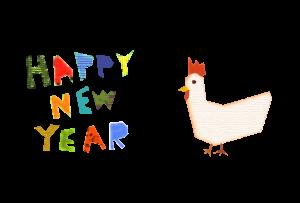 年賀状-2017年-コラージュ風テンプレート(鶏)