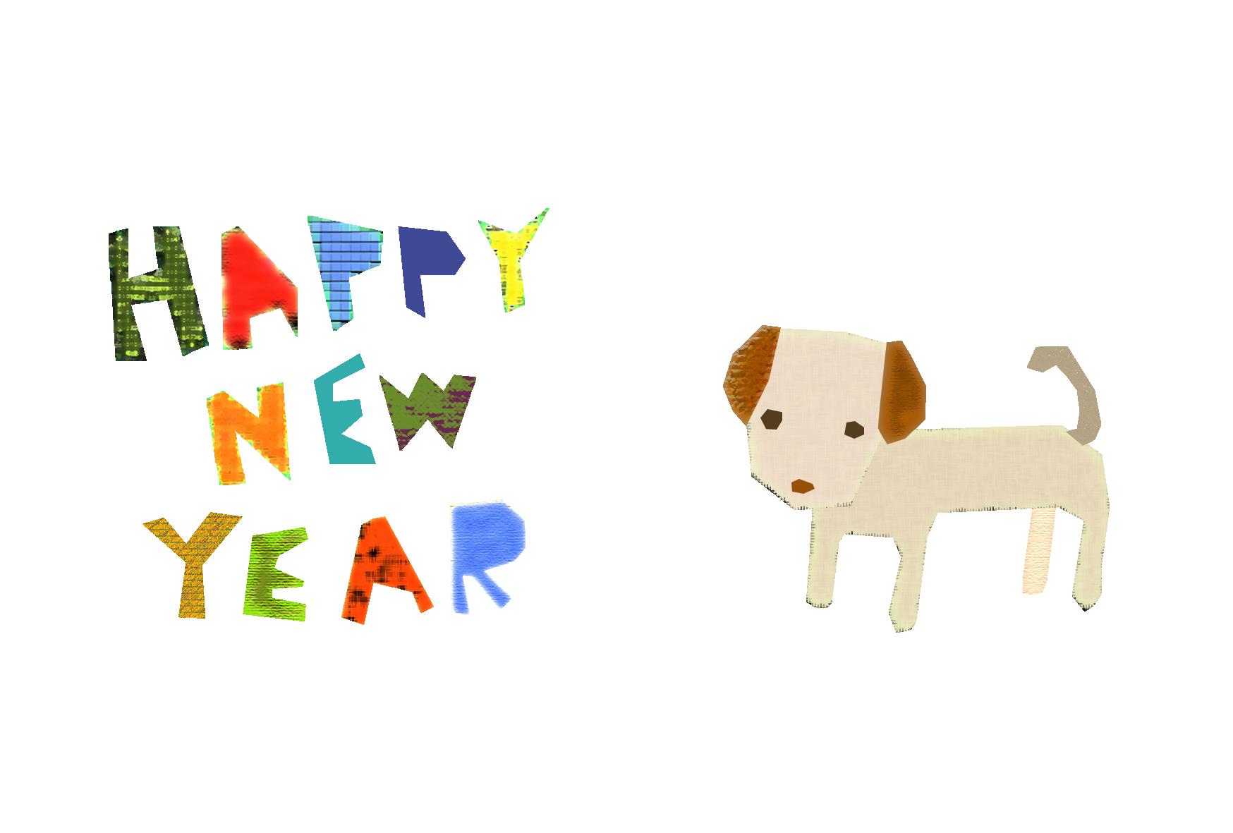 年賀状-2018年-コラージュ風テンプレート(犬) <無料> | イラストk