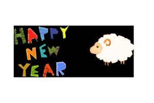 年賀状-コラージュ風テンプレート(羊)