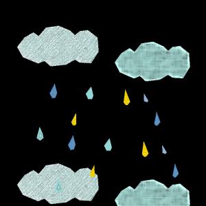 雨雲のコラージュ風イラスト