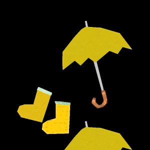 雨具(黄色)のコラージュ風イラスト
