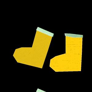長靴(黄色)のコラージュ風イラスト