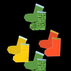 長靴(緑、黄色、赤)のコラージュ風イラスト