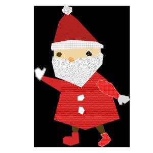 サンタクロースのコラージュ風イラスト