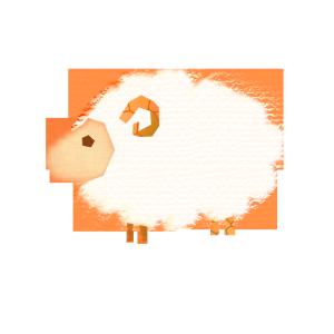 羊のコラージュ風イラスト