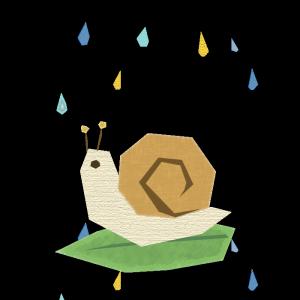 かたつむりと雨のコラージュ風イラスト