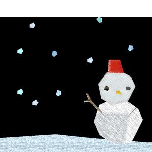 雪と雪だるまのコラージュ風イラスト