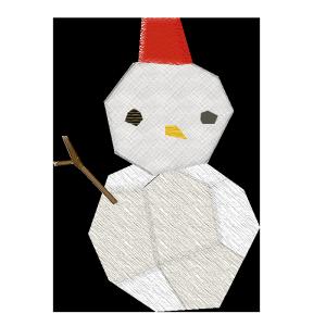 雪だるまのコラージュ風イラスト