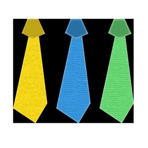 ネクタイ(黄色、青、緑)のコラージュ風イラスト