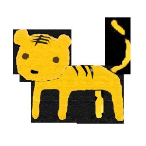 虎のコラージュ風イラスト