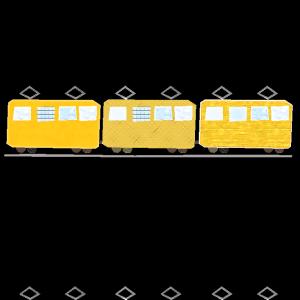電車のコラージュ風イラスト