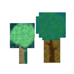 木のコラージュ風イラスト