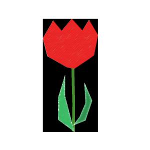 チューリップ(赤)のコラージュ風イラスト