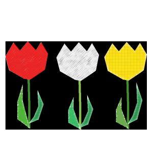 チューリップ(赤・白・黄色)のコラージュ風イラスト