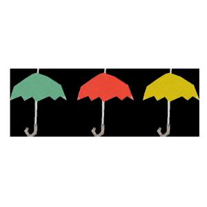 傘(緑、赤、黄色)のコラージュ風イラスト
