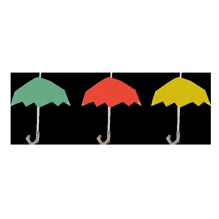 傘(緑、赤、黄色)の ...