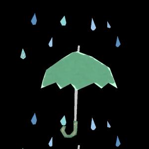 傘(緑)と雨のコラージュ風イラスト