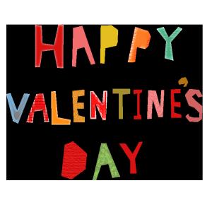 HAPPY VALENTINES DAYのコラージュ風文字イラスト