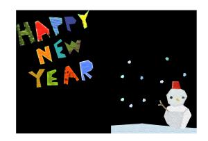 年賀状-コラージュ風テンプレート(雪と雪だるま)