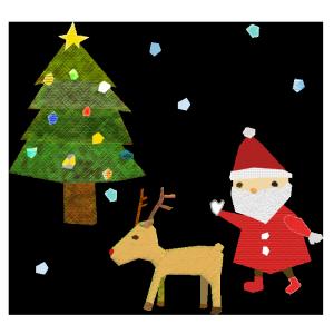 クリスマスのコラージュ風イラスト