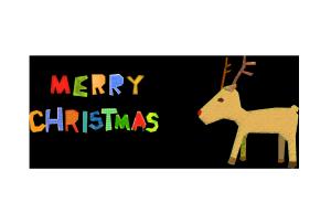 クリスマスカード-コラージュ風テンプレート(トナカイ)