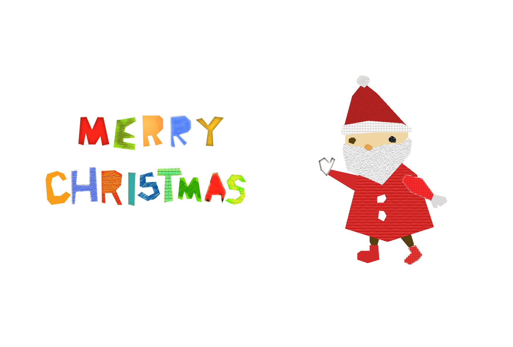 クリスマスカード コラージュ風テンプレートサンタクロース 無料