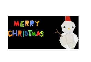 クリスマスカード-コラージュ風テンプレート(雪だるま)