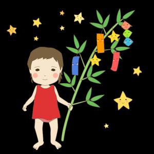 七夕(笹の葉、女の子)のかわいいイラスト