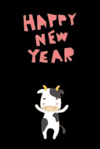年賀状-2021年-かわいいテンプレート(牛)03