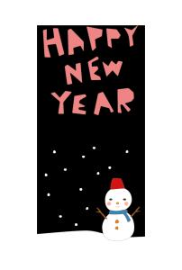 年賀状-かわいいテンプレート(雪と雪だるま)