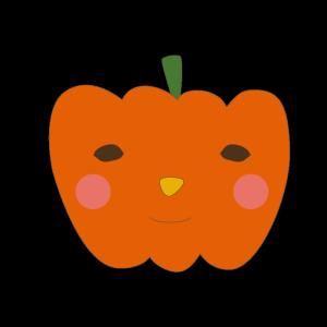 かぼちゃ(オレンジ)のかわいいイラスト
